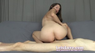 Amateur babe gives blowjob then sideways asian cowgirl riding & doggystyle HUGE cumshot on boobs w/ MANY orgasms – Lelu Love