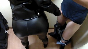 Leather fetish quickie with a blonde babe in the storage room ends with huge cumshot