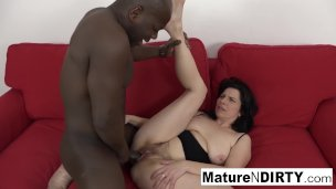 Mature with natural tits gets a creampie in her hairy pussy!