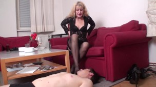 nylons foot fetish sniffing by mature mistress