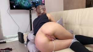 Step sister gets a creampie and facial while playing a game – Eva Elfie