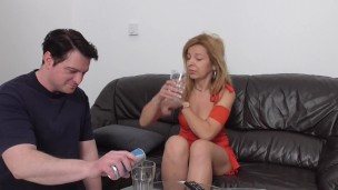mature mistress humiliate her slave with spit